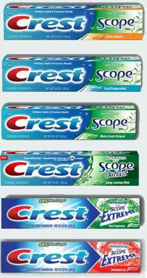 Серия зубных паст Crest Whitening Plus Scope Отбеливание плюс возможности