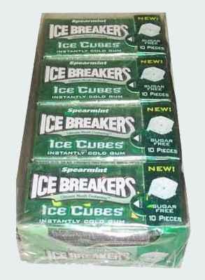Производители жвачки из США Ice Breakers Spearmint  Ice Cubes (жвачка Айс брекерс ледяной куб с ледяным вкусом мяты)
