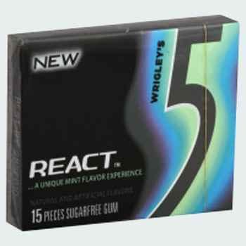 Жевательная резинка Wrigley's five React Mint ( Ригли файв реакт мята)
