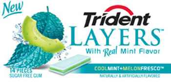 Жвачка Trident Layers Cool Mint Melon Fresco