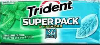 Марки жевательных резинок Trident Superpack Spearmint Wintergreen (Тридент супер упаковка мята и зимняя зелень)