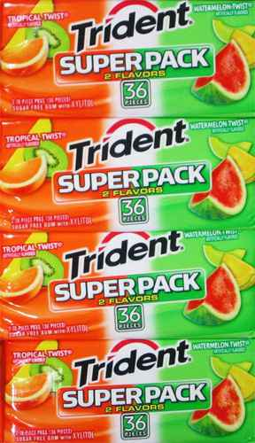 Марки жвачек Trident Superpack Tropical Watermelon twist (Тридент супер упаковка тропик и арбуз)