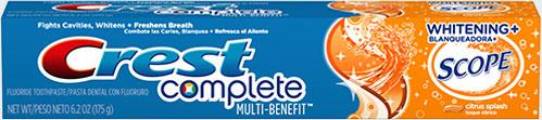 Отбеливание зубная паста Crest Complete Multi-Benefit Whitening + Scope Citrus (Крест мульти польза отбеливание цитрус)