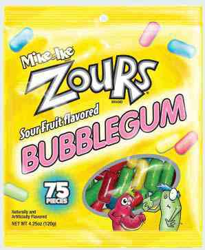 Жвачка бубль гум Mike & Ike Zours Bubble Gum