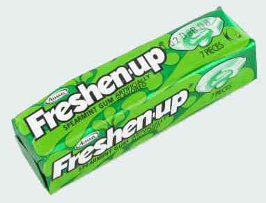 Старые жвачки Freshenup Bubble Gum Spearmint (Жвачка Освежись Бабл гам Мята)