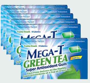 Mega-T green tea chewing gum (Мега-Ти зеленый чай)