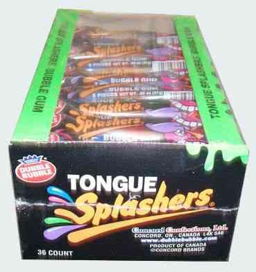 Фирмы жвачек Tongue Splashers Assorted Bubble Gum (Всплеск на языке Ассорти бабл гам)