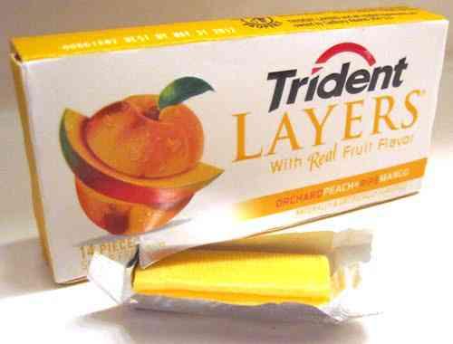 Жвачки Trident Layers Peach Mango (Тридент слоеный персик и манго)