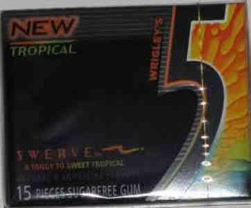 Жвачка Wrigley's 5 Swerve Tangy Sweet Tropical (Ригли 5 Острый и сладкий тропический вкус)